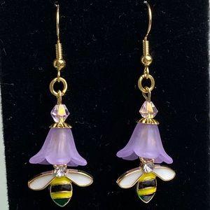 New Purple Trumpet Flower Bee Dangle Earring
